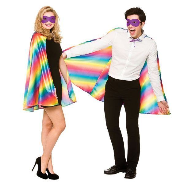 Adult Super Hero Cape & Mask - Rainbow